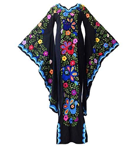 Womens Street Fashion Batwing Long Sleeve Floucing Slim Fit Floral Print Bohemian Split Side OL Midi Dress Bodycon Bandage Party Club Evening Dresses Black L