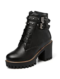 DoraTasia Women's Sweet Metal Rivets Decoration Round Toe Buckle Strap Chunky Heel Ankle boots