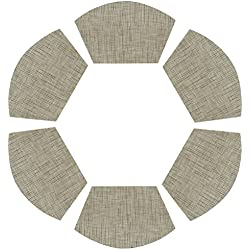 PAUWER Round Table Placemats Vinyl Wedge Placemat Set of 6 for Kitchen Table Heat Insulation Stain-resistant Washable Placemats for Round Table (Set of 6, Beige