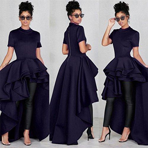 Damen kleider elegant lang Damen kleider sommer Frauen Kurzarm High ...