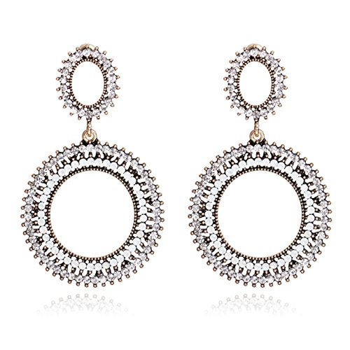 Price comparison product image Unicra Women's Bohemian Boho Vintage Crystal Wedding Bridal Multiple Double Circle Hollow Earrings Chandelier Long Dangle Earrings for Brides and Bridesmaids (White)