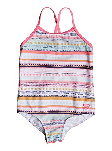 Roxy Little Girls' Indi One Piece Swimsuit, Bright White Livin Dream Strip, 6
