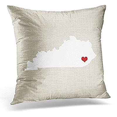 Throw Pillow Cover Custom Kentucky State Wedding Couple Heart Decorative Pillow Case Home Decor Square 18x18 Inches Pillowcase