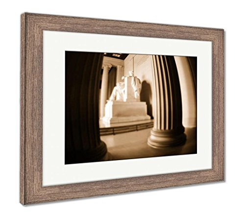 Ashley Framed Prints Lincoln Memorial With Minature Effect, Wall Art Home Decoration, Sepia, 30x35 (frame size), Rustic Barn Wood Frame, (Lincoln Memorial Framed Photograph)