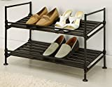 Neu Home Espresso 2 Tier Stackable Utility Shoe Rack Storage - No Tool Assembly