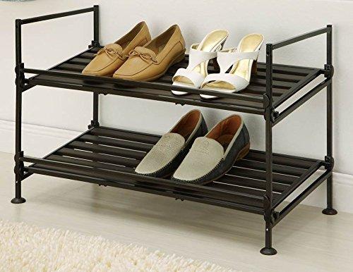 Neu Home Espresso 2 Tier Stackable Utility Shoe Rack Storage - No Tool Assembly by Neu Home