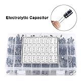 Condensadores electrolíticos,Kit surtido de capacitores,0.1uF~1000uF,16V-50V,105 ° C,Incluye 24 tipos de condensadores más populares,Adecuado para una amplia gama de aplicaciones electrónicas