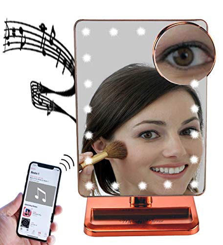 Melody Mirror – Lighted Vanity Mirror with Bluetooth Speaker Eletro Plated Rose Gold
