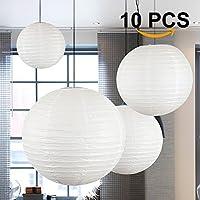Dazone Lampion Chinois Abat-Jour en Papier Lanterne Boule avec LED pour Décoration de Mariage Maison Noël Fête (Lot de 10pcs)