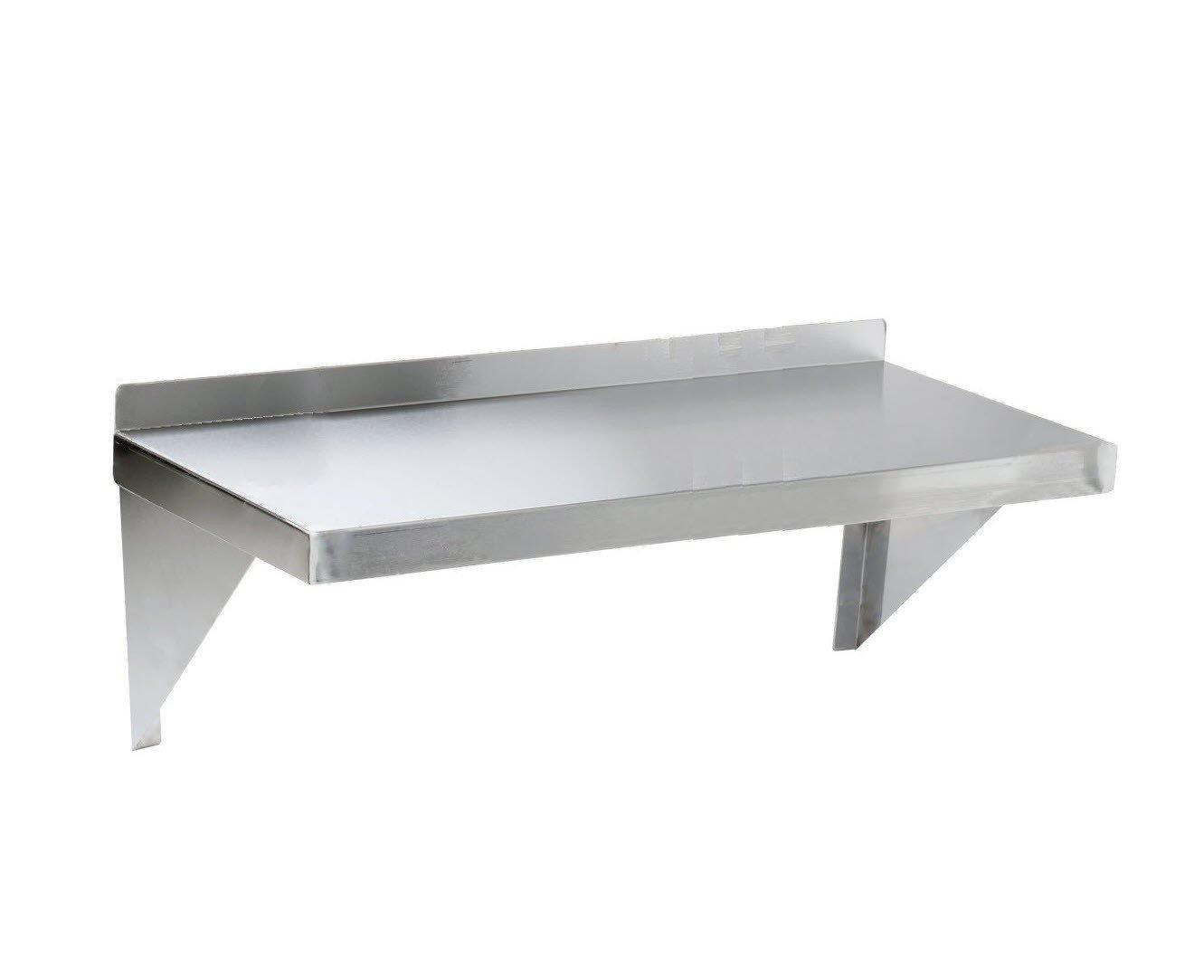 Regency 16 Gauge 12'' x 48'' Stainless Steel solid heavy duty wall Shelf (16 Gauge, 12x48)