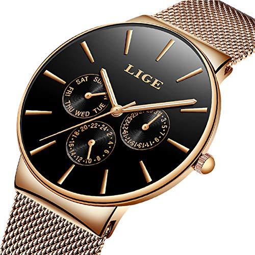 Men's Watches Fashion Analog Quartz Watch LIGE Date Business Chronograph Dress Luxury Brand Black Leather Wristwatch Gents Sport Waterproof Wristwatch