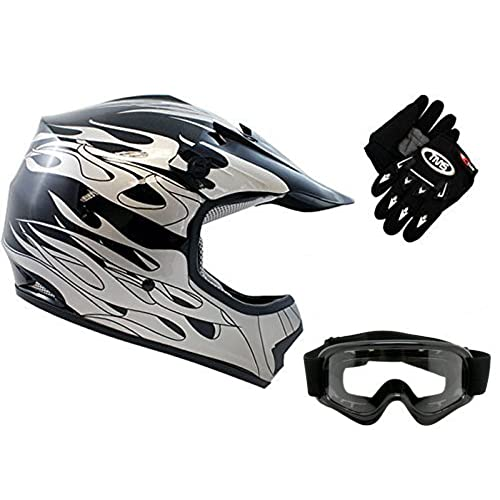 TMS Youth Kids Black Flame Dirtbike Off-Road ATV Motocross Helmet MX+Goggles/Gloves (Large)