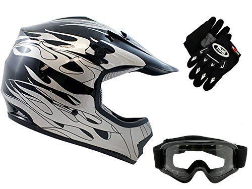 Motocross Motorcycle Atv Mx Helmet (TMS Youth Kids Black Flame Dirtbike Off-Road ATV Motocross Helmet MX+Goggles/Gloves (Large))