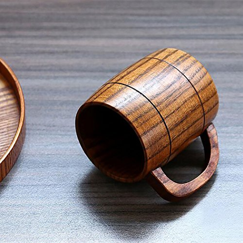 Justdolife 5PCS Wood Mug Beer Cup Handmade Natural Wooden Water Cup for Wine Coffee Tea by Justdolife (Image #3)