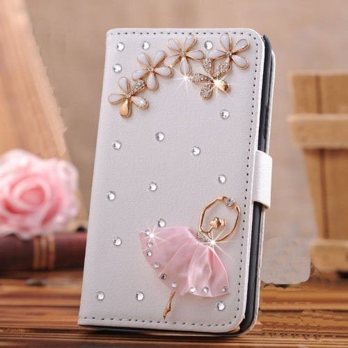 Eel Skin Cell Phone Case - Spritech(TM) PU Leather Bling Phone Case for Samsung Galaxy Grand Prime G530 2015 Edition,Handmade Small Crystal White Flower Lovely Girl Accessary Design Stand Folding with Card Slot Cellphone Cover