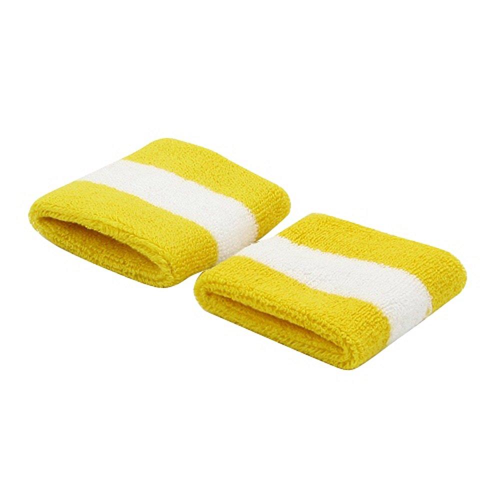 Terry Stripe Wristband Pair-Yellow White W15S27D