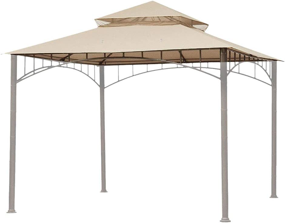 Yescom 10.6'x10.6' Gazebo Top Replacement for 2 Tier Madaga Frame Canopy Cover Outdoor Garden Patio Yard Light Beige Y00710T01