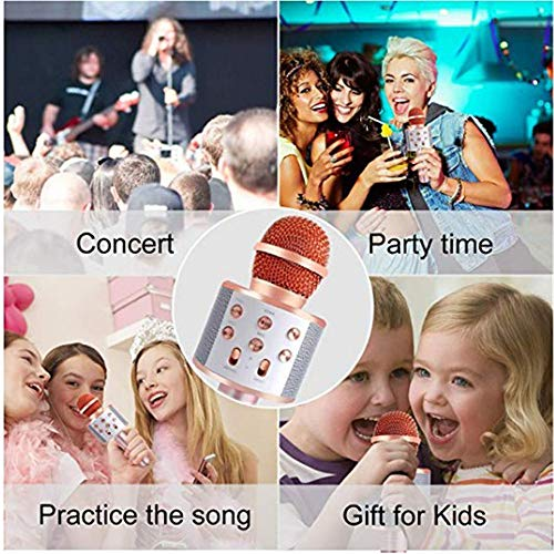 Handheld Bluetooth Wireless Karaoke Microphone Portable Karaoke Player with Speaker for Smartphones and PCs Home KTV Music Playing Machine Wireless Bluetooth Karaoke Microphone ( Color : Rose Gold ) by Xiuzhifuxie (Image #2)