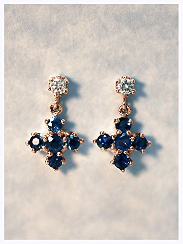 (Shraddha Shree Gems Certified Designer Blue Sapphire and Diamond Dangle Earring | Solid 9K Rose Gold | Cross | Gemstone Earrings | September Birthstone | Fine Jewelry ( Fast Shipping ))