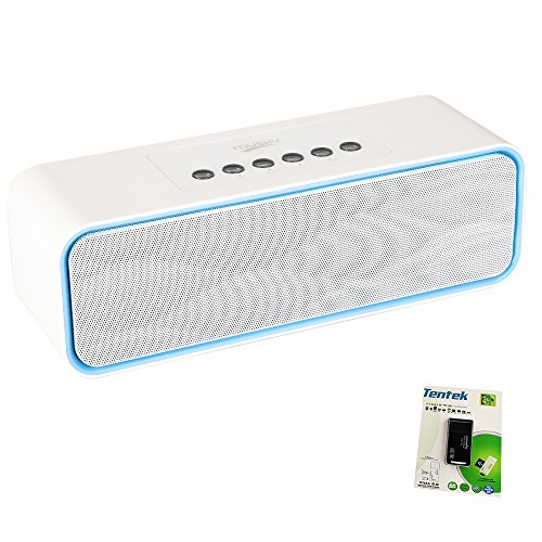 Portable Bluetooth Stereo Speaker, 2X5W Dual Acoustic Drivers, FM Radio & Handsfree Speakerphone, Micro SD Card & USB & AUX Slots for Smart Phone, MP3, iPad, Tablet & More ()