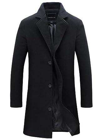 Herren Mantel Slim Fit Gekerbten Kragen Jacke  Amazon.de  Bekleidung e3c2d31076