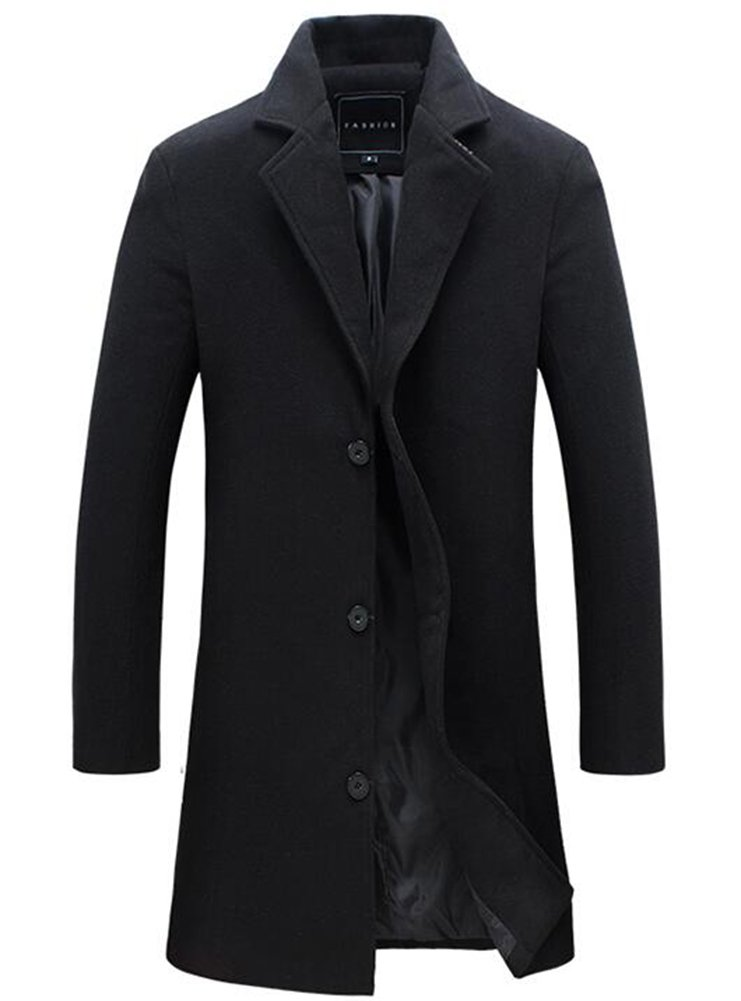 Benibos Mens Trench Coat Slim Fit Notched Collar Overcoat (L, F20Black) by Benibos