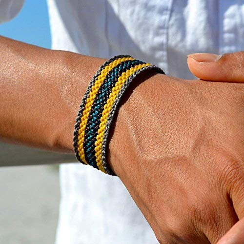 - RUMI SUMAQ Mens Striped Sailor Bracelet: Hand-Knotted Nylon Pull Cord Adjustable Bracelet with Hematite Stones in Grey, Gold, Brown and Teal