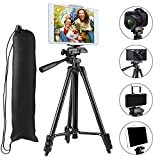 Tripod Compatible iPad iPhone,PEYOU 50'' inch Portable Lightweight Aluminum Phone Camera Tablet Tripod + 2 in 1 Universal Mount Holder Compatible Smartphone (Width 2-3.3''),Tablet (Width 4.3-7.2'')