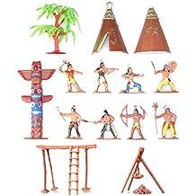 Indians Figures Plastic Toys Sandbox Aquarium Terrariums Miniature Garden Fairy Gardens Doll House Cake Topper Resin Decoration 13pcs Set