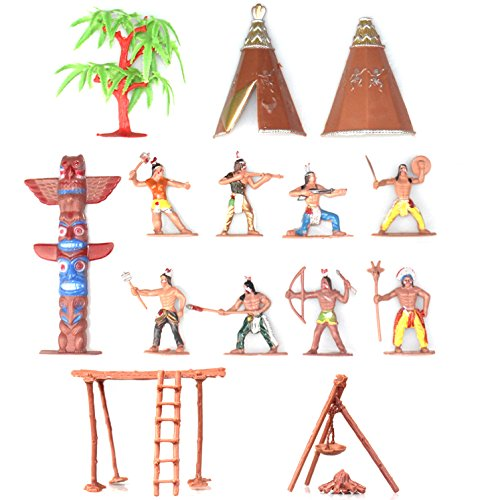 Indians Figures Plastic Toys Sandbox Aquarium Terrariums Miniature Garden Fairy Gardens Doll House Cake Topper Resin Decoration 13pcs Set -