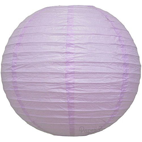 "Quasimoon 16"" Lavender Round Paper Lantern, Even Ribbing, Hanging Decoration (10 Pack) by PaperLanternStore"