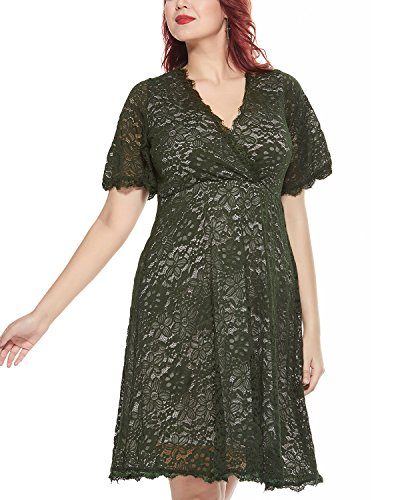 Women's Plus Size Flutter Sleeve V-Neckline Lace Flared Cocktail Party Dress Green 24W by Daci (Image #1)