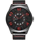 メンズ ファション ウォッチ アナログ 腕時計 レザーバンド ビッグ デザイン 時計 防水 Curren 8258G レッド