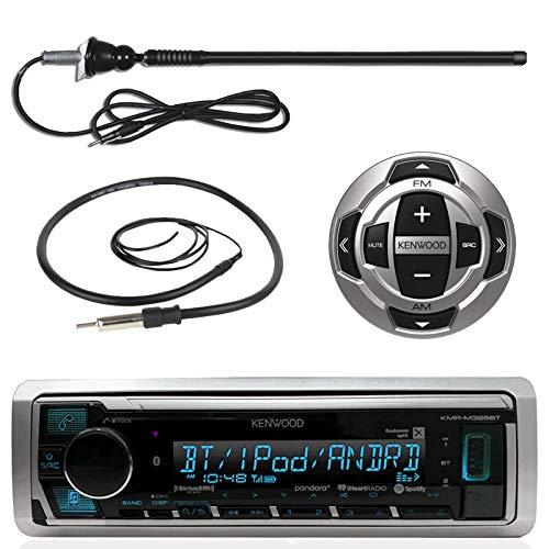Kenwood Marine Digital Media Bluetooth Receiver, Wired Remote, Enrock AM FM Antenna Black , Antenna – 40