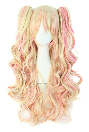 MapofBeauty Multi-color Lolita Long Curly Clip on Ponytails Cosplay Wig (Blonde/Pink) ()
