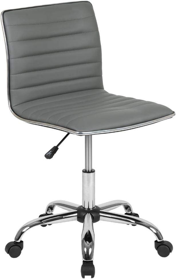 Flash Furniture Low Back Designer Armless Light Gray Ribbed Swivel Task Office Chair