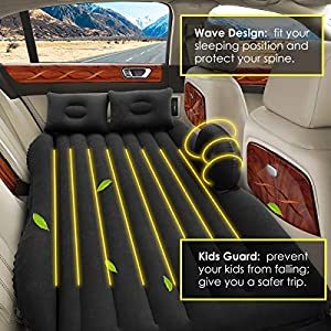 Inflatable Car Air Mattress, Removable Gray Backseat Air Bed with Air-Pump, Portable Car Travel Bed with Two Pillows Fits Most Car Models for Camping Travel, Hiking, Trip and Other Outdoor Activities
