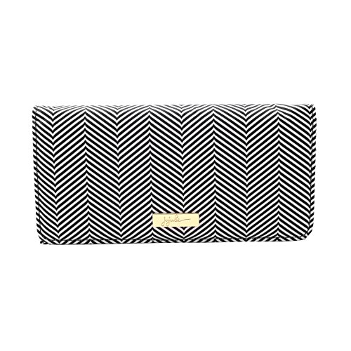JuJuBe Be Rich Tri-Fold Wallet with Snap Enclosure, Legacy Collection - Queen of The Nile - Black/White Chevron ()