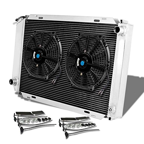 For Ford Mustang 3rd Gen (Manual Transmission) 3-Row Tri Core Racing Radiator+2 x 10 inches Black Fan (Ford Thunderbird Radiator Fan)