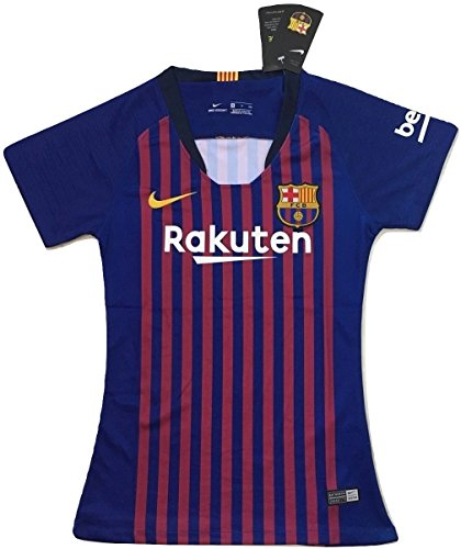 Red Embroidered Football Jersey - Slimfit Women's FC Barcelona 2018-2019 Home Soccer Jersey Royal Blue/Red (Women's Large)