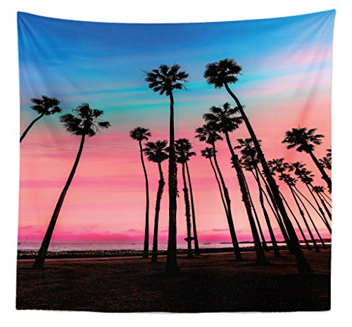 Lunarable Palm Tree Tapestry Queen Size, Tree Rows in Santa Barbara USA American Holiday Destination Dreamy Heaven Dawn, Wall Hanging Bedspread Bed Cover Wall Decor, 88