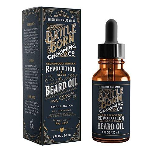 Beard Oil by Battle Born Grooming Co: Revolution (Cedarwood/Vanilla/Clove)   All Natural Beard Conditioning Oil   30 ml   1 oz