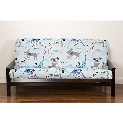 1 Piece Multi Puppies Themed Futon Cover, All Over Beautiful Cute Faces Dogs Pattern, Adorable Colorful Pet Animal Print Bedding, Abstract Black Blue Grey Red White (Print Futon Cover)