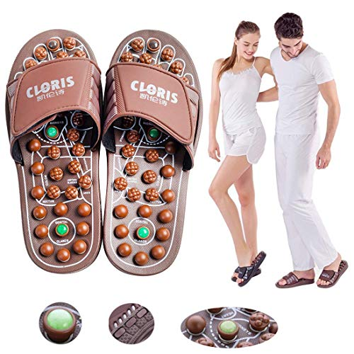 CLORIS 2019 Foot Massagers Acupressure Massage Slippers, Powerful Natural Stone Foot Massage Shoes Acupoint Massage Slippers Shoes for Men Women ((Men Size 6-8, Women Size 7-9))