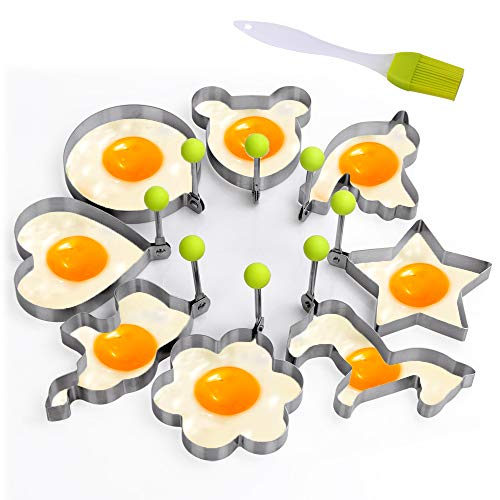 Aorange Pancake Mold for Kids, Reusable Pancake Mold, Egg Mold of Different Egg Shapes, Fried Egg Mold - 8pcs Different Shapes Stainless Steel Fried Egg Molds with 1pc Silicone Pastry Brush- Set of 9