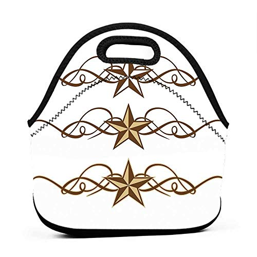 Large Size Reusable Lunch Handbag Primitive Country Decor,Western Stars Scroll Design Ornate Swirls Antique Artistic,Brown Light Coffee,snap on lunch bag for men