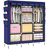 Portable Clothes Closet Wardrobe Storage Organizer Non-woven Navy blue Large Storage Space Cloakroom