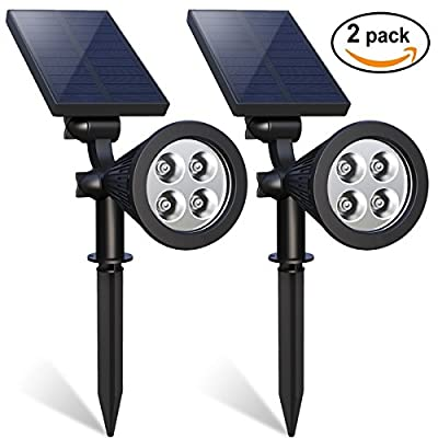 4 LED Solar Spotlight, SD Solar Landscape Light, 180° Adjustable Waterproof Security Lamp Outdoor Backyard Spotlight Solar for Landscape , Garden, Driveway with Auto On/Off & High/Low Light Mode