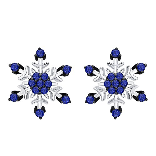 Womens Fashion Beautiful Blue Sapphire Snowflake Earrings 14K White Gold Over .925 Sterling Silver