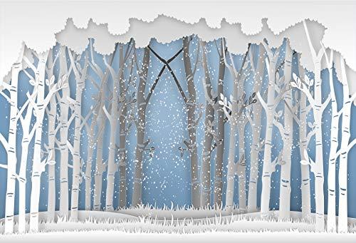 Leowefowa Snow Forest Cartoon Backdrop 8x6.5ft Vinyl Winter Wonderland Backgroud Christmas Backdrop Winter Festival Children Party New Year Celebration Baby Shower Kids Portraits